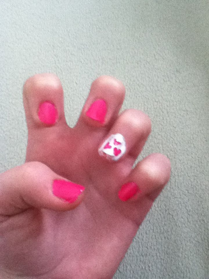 I just did this to my nails and I love it (my picture) perfect for V-day