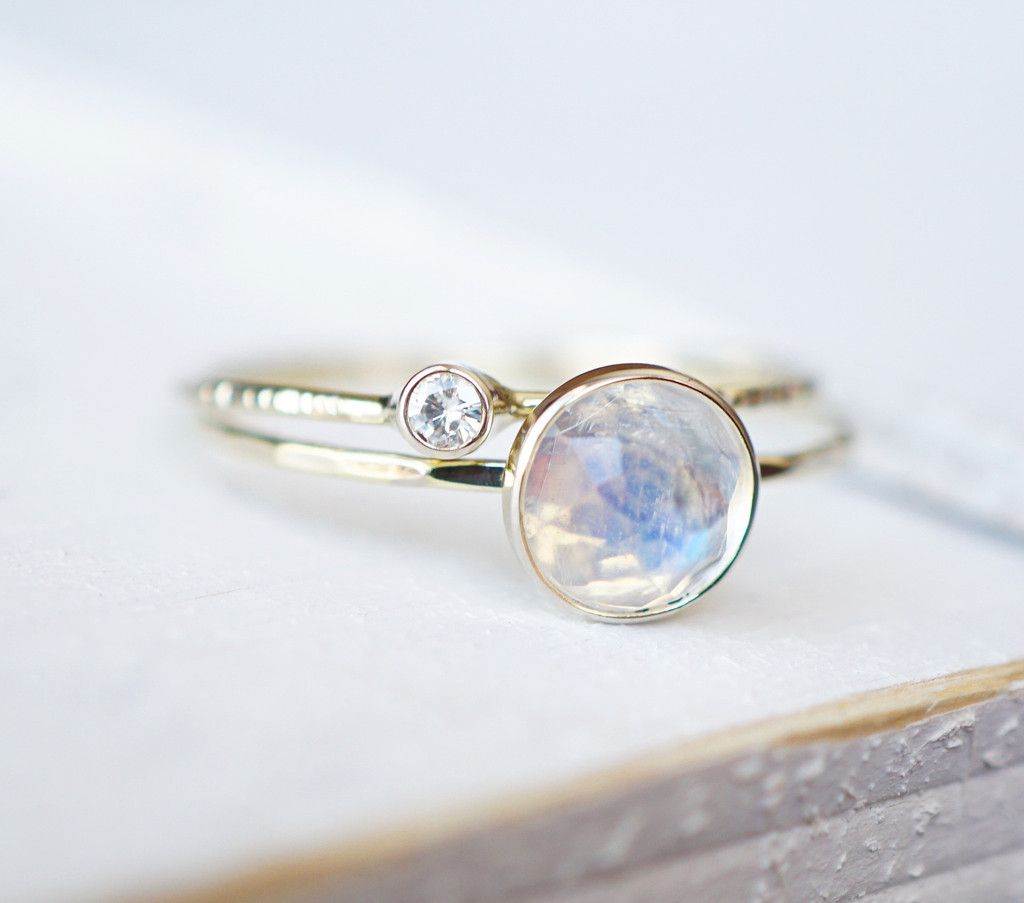 Moonstone ring set moissanite ring on k solid gold stacking