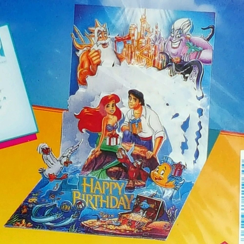 NEW UNSEALED Disney LITTLE MERMAID Popshots POP UP 3D BIRTHDAY – Ariel Birthday Card