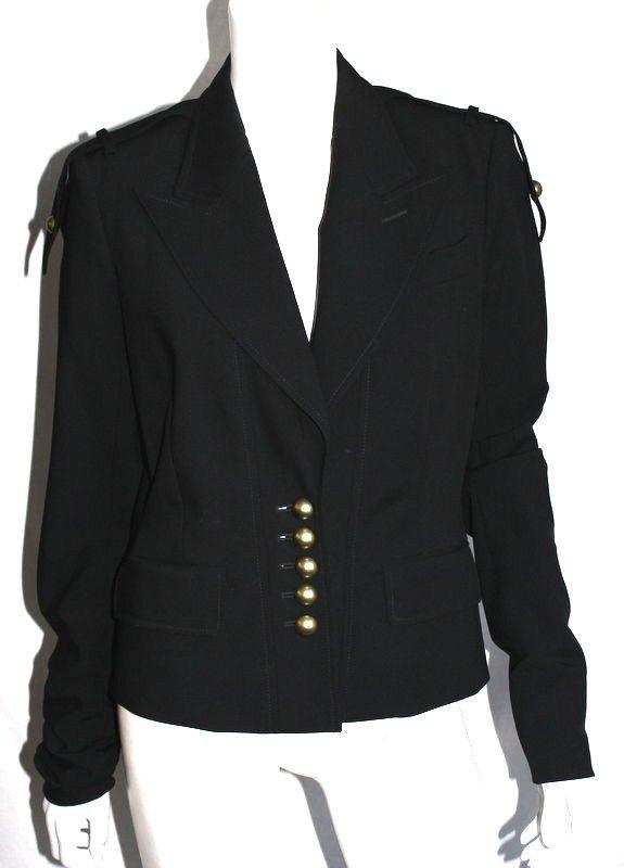 77004bc85d5 YVES SAINT LAURENT by TOM FORD Black Virgin Wool Military Jacket ...