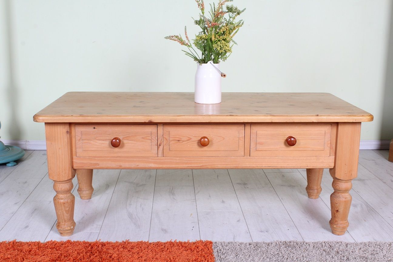 120 Waxed solid pine coffee table with 3 drawers all tongue