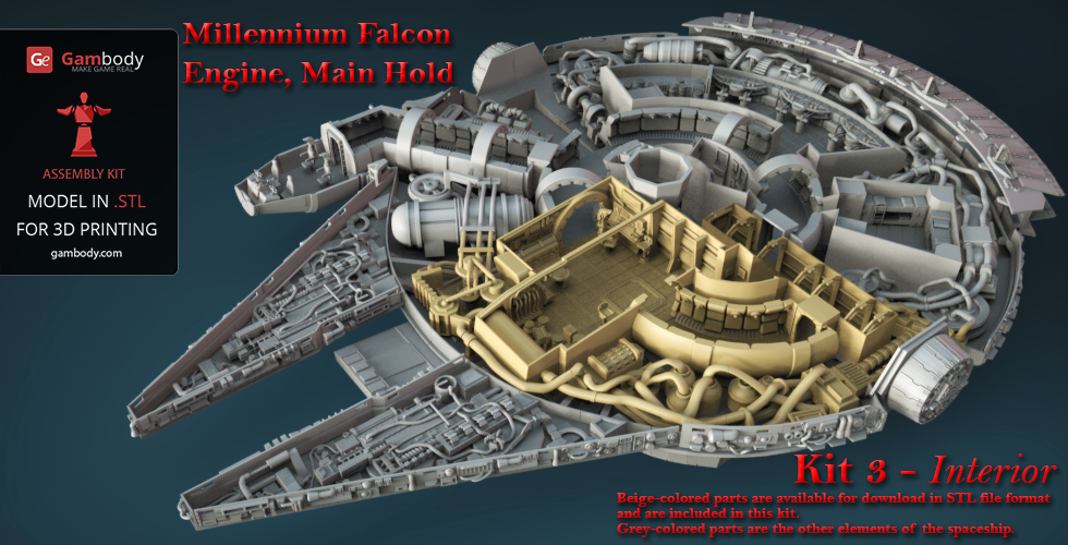 Millennium Falcon Interior 3D Printable Parts Kit 3: Main Hold