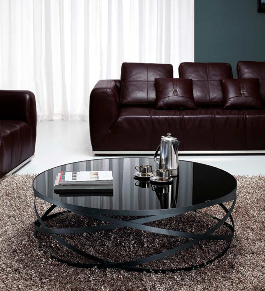 Round Black Glass Coffee Table 4