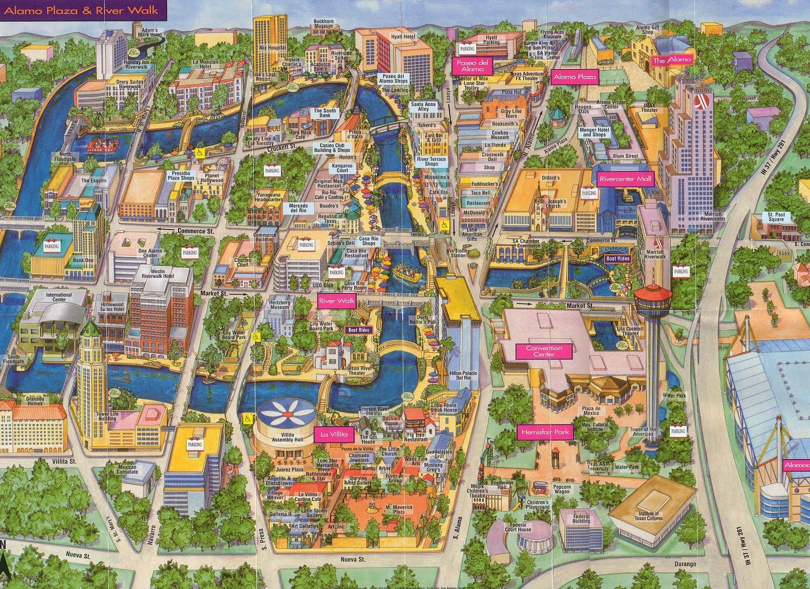 san antonio river map San Antonio River Walk Map San Antonio Texas Riverwalk San san antonio river map