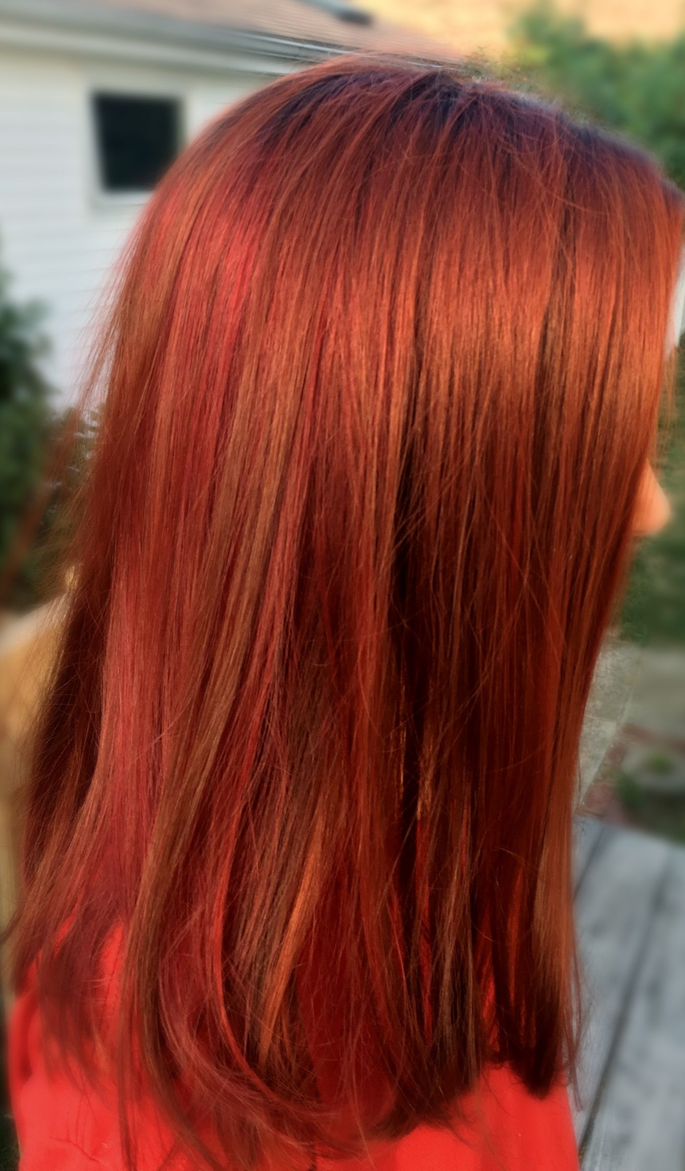 Multi Tonal Copper Red And Bright Red Color Wella Color Touch I