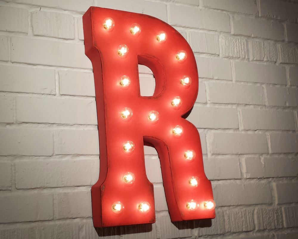 "Red Metal Letters With Lights 21"" Letter ""r"" Rustic Metal Vintage Inspired Marquee Sign Light"