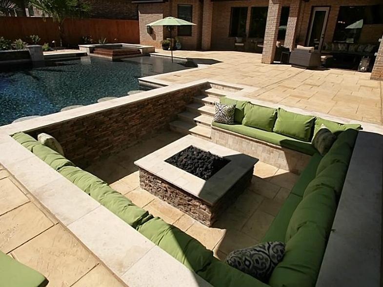 Square sunken firepit fire pit ideas pinterest for Sunken outdoor seating
