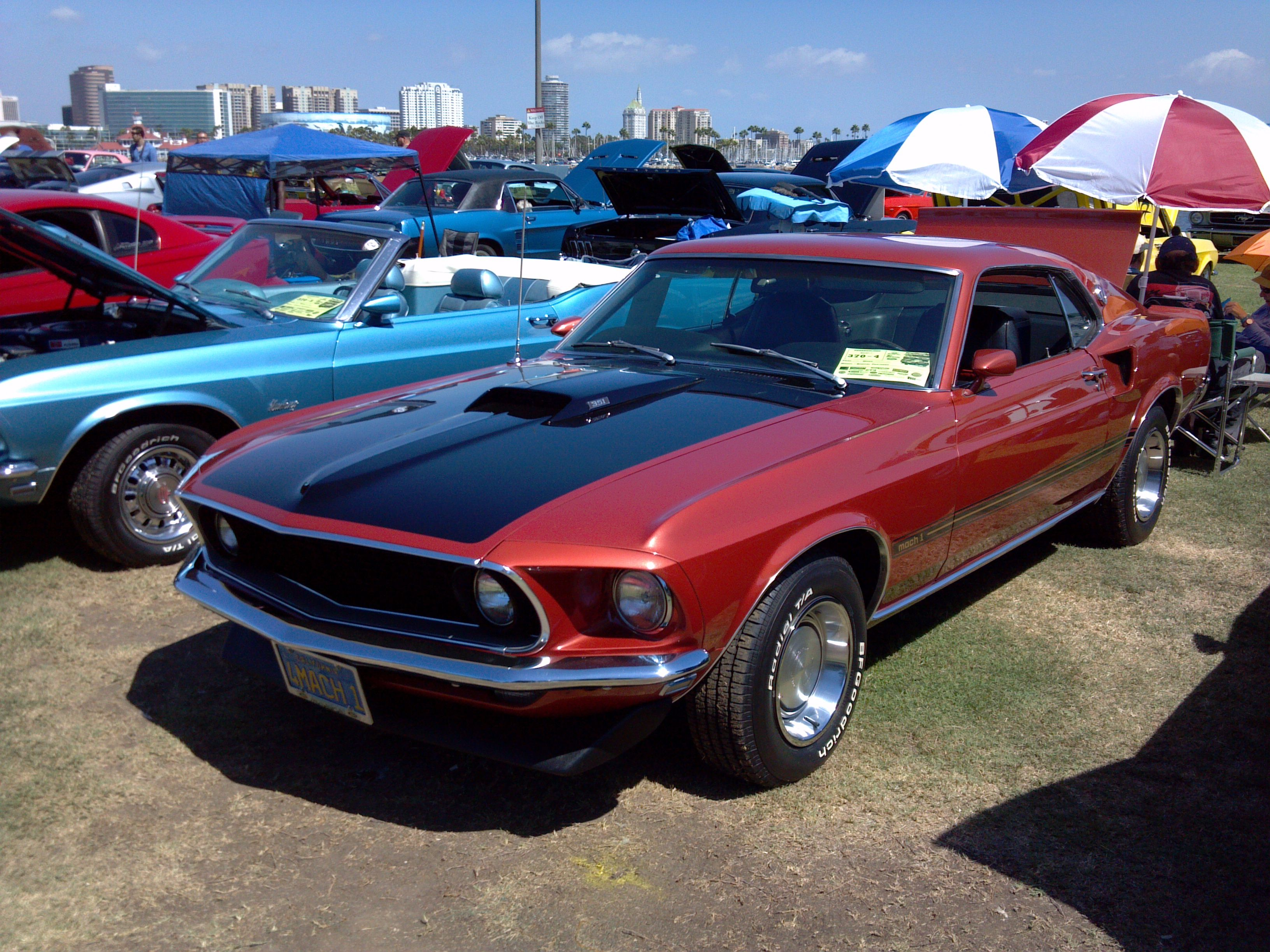 1969 Mach 1 in Indian Fire Red at Long Beach Mustang Show