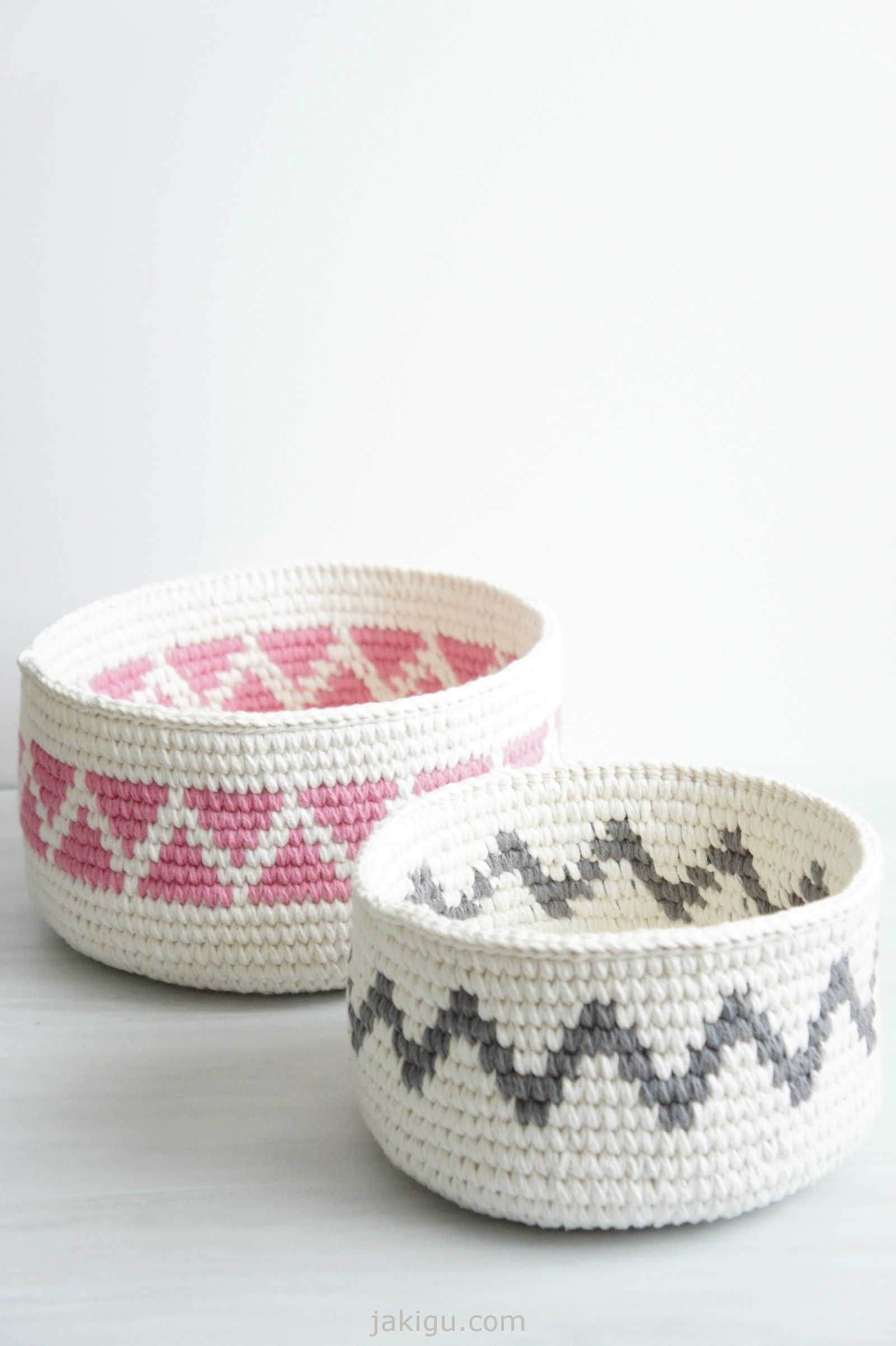 Contemporary Crochet Basket with Triangles and Chevron Detail