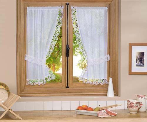 cortina de cocina blanca estilo romantico