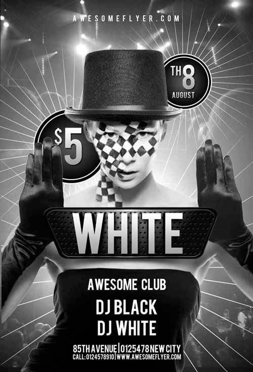 Free Black and White Club Flyer Template Templates Pinterest - black and white flyer template