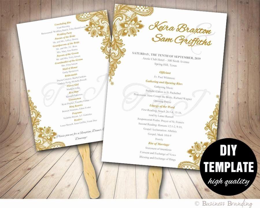 Free Wedding Program Fan Templates Elegant Gold Wedding ...