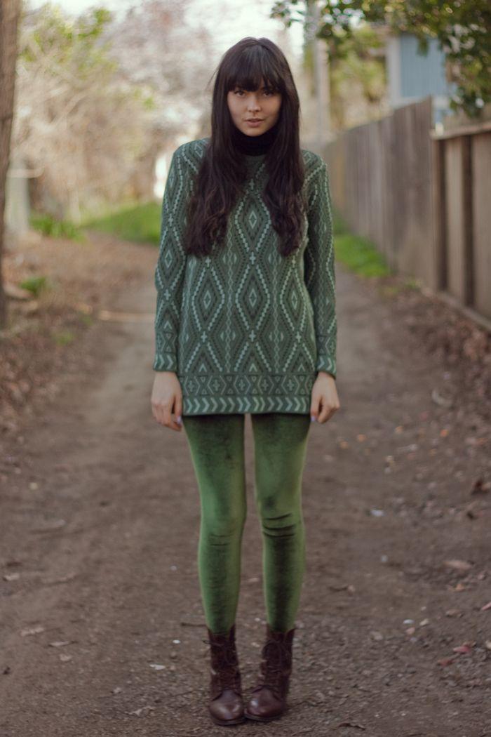 7e88dadb09943 cardigan, american apparel. turtleneck, secondhand. printed sweater,  vintage. velvet leggings, american apparel. gusseted boots, madewell.