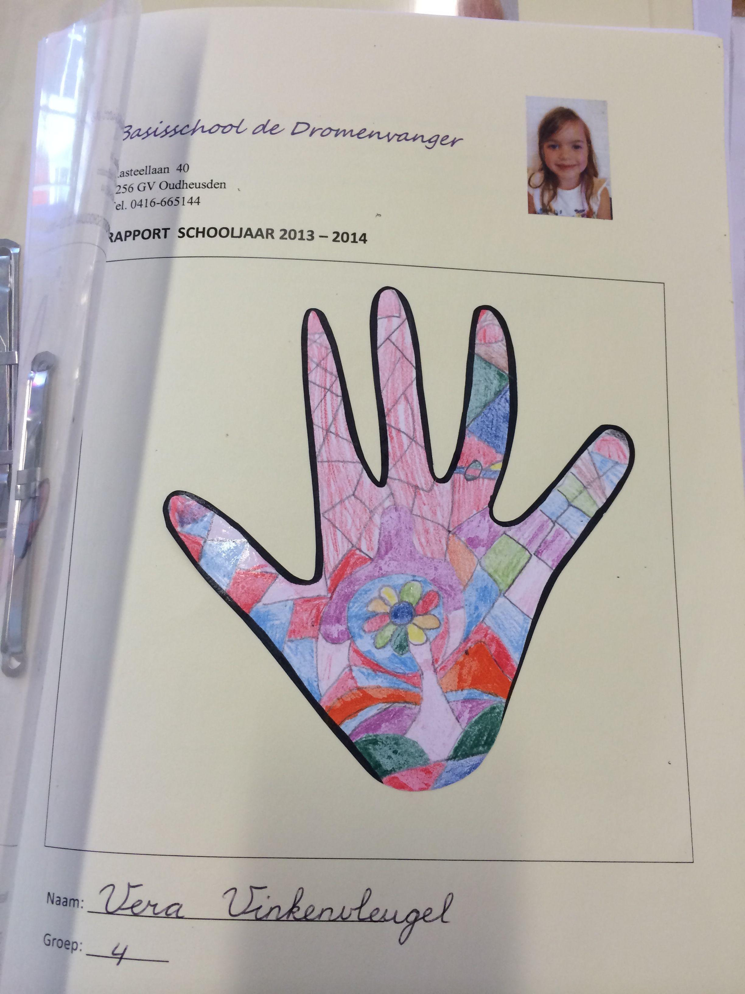 hand overtrekken, in stukjes verdelen en laten inkleuren, zwarte rand erom heen tekenen en uitknippen. voor op een boekje of rapport