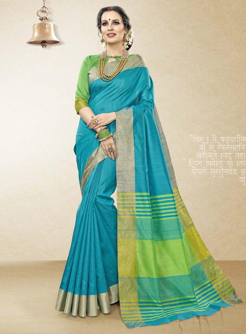 Silk saree below 2000 blue handloom cotton silk festival wear saree   sae