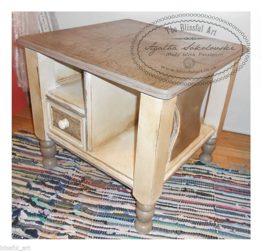 French Linen Chalk Paint Coffee Table: Details About Shabby Chic Vintage Annie Sloan Paint