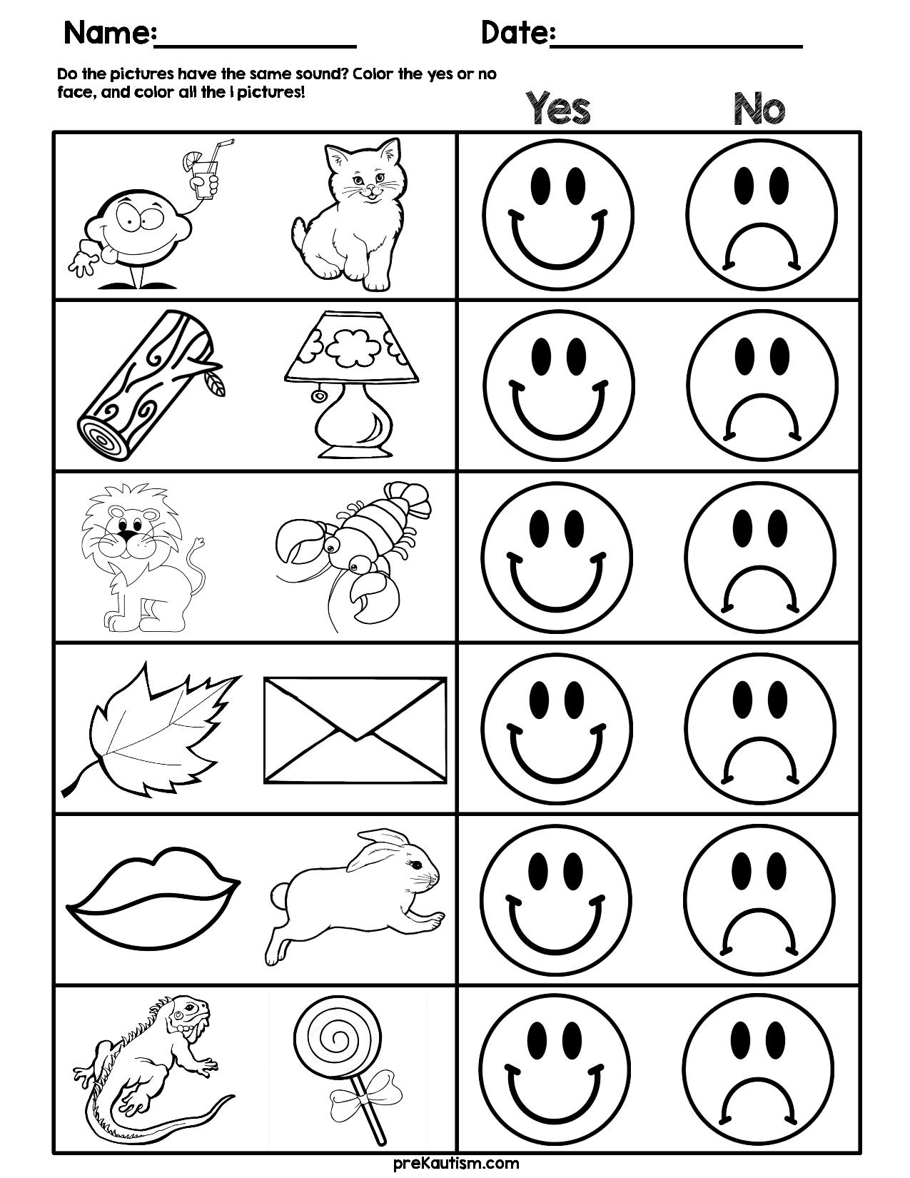 Consonant Sound Match Worksheets