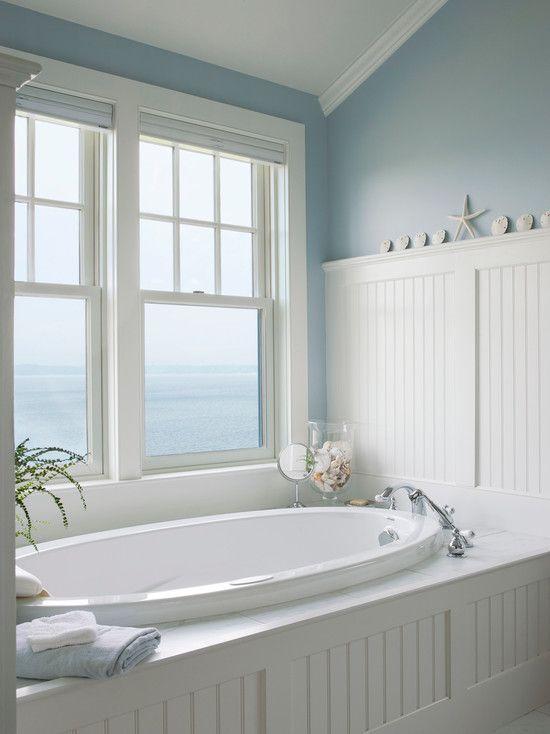Cottage Master Bathroom With Dropin Bathtub Beadboard Impressive Bathroom Crown Molding 2018