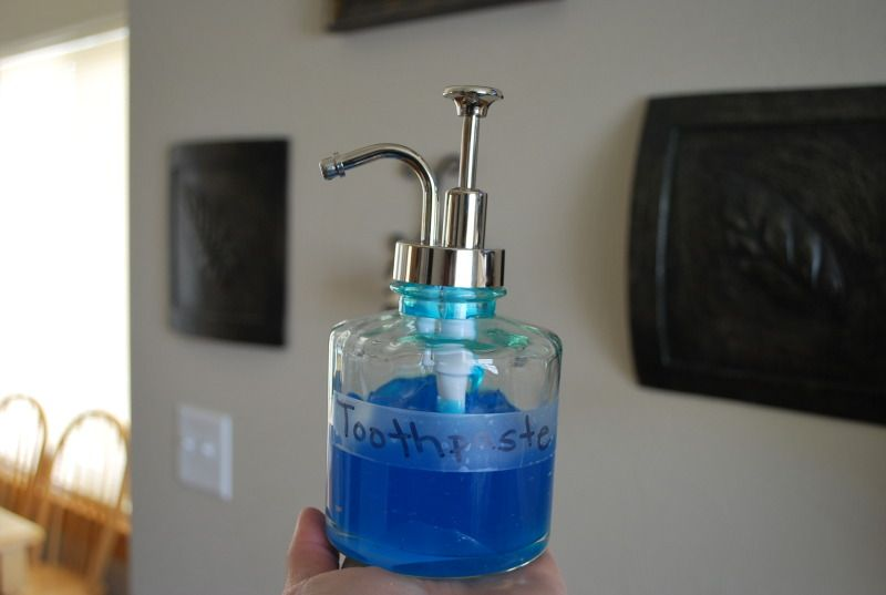Toothpaste in a brand new soap dispenser for the kids.  Easy pump!  Duh, right?