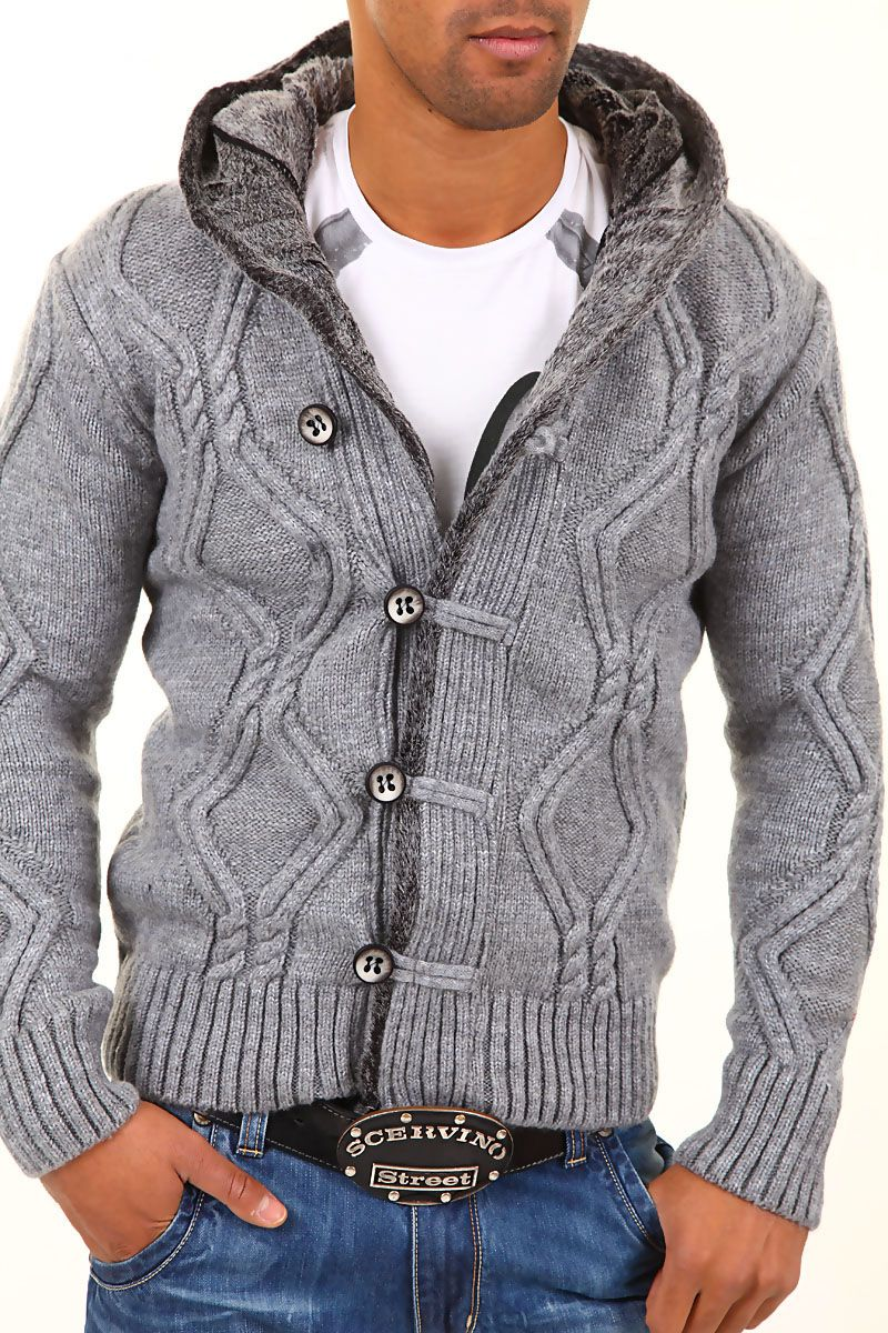 Knitting Mens Sweater : Knit cardigan mens men s carisma knitted hooded