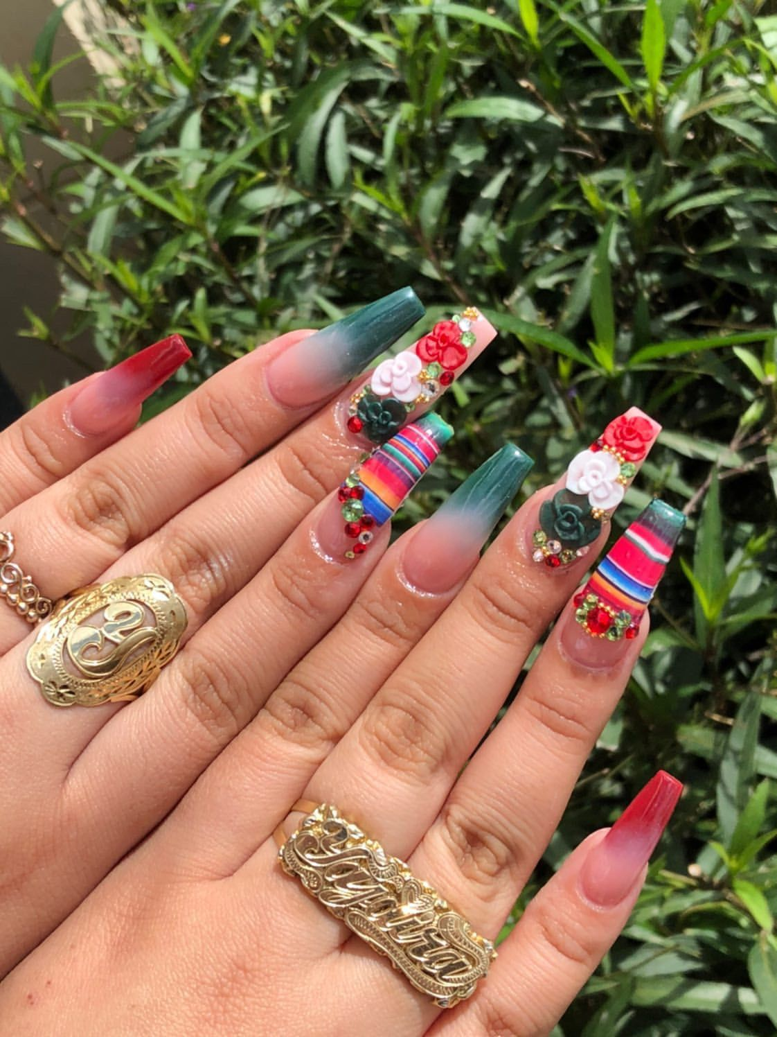 Long Coffin Mexican Nails With 3d Flower In Mexican Colors Mexican Nails Quinceanera Nails Long Acrylic Nails Coffin