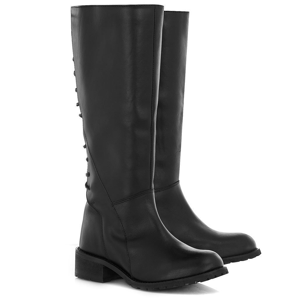 Black Leather Double Zip Boots | Boots, Black leather, Leather