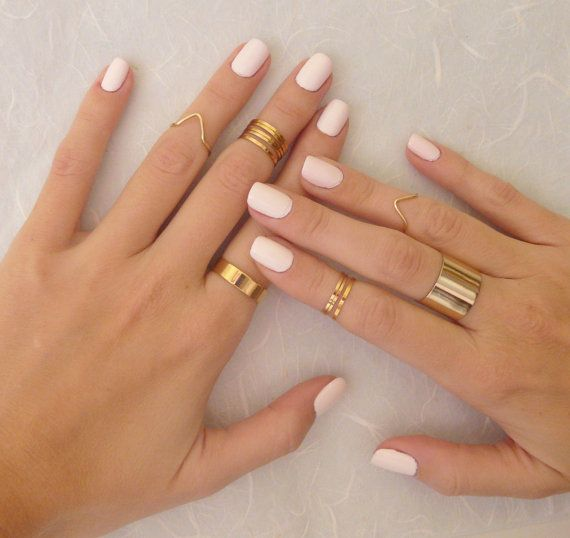 9 Above the Knuckle rings, Gold knuckle ring, Stacking