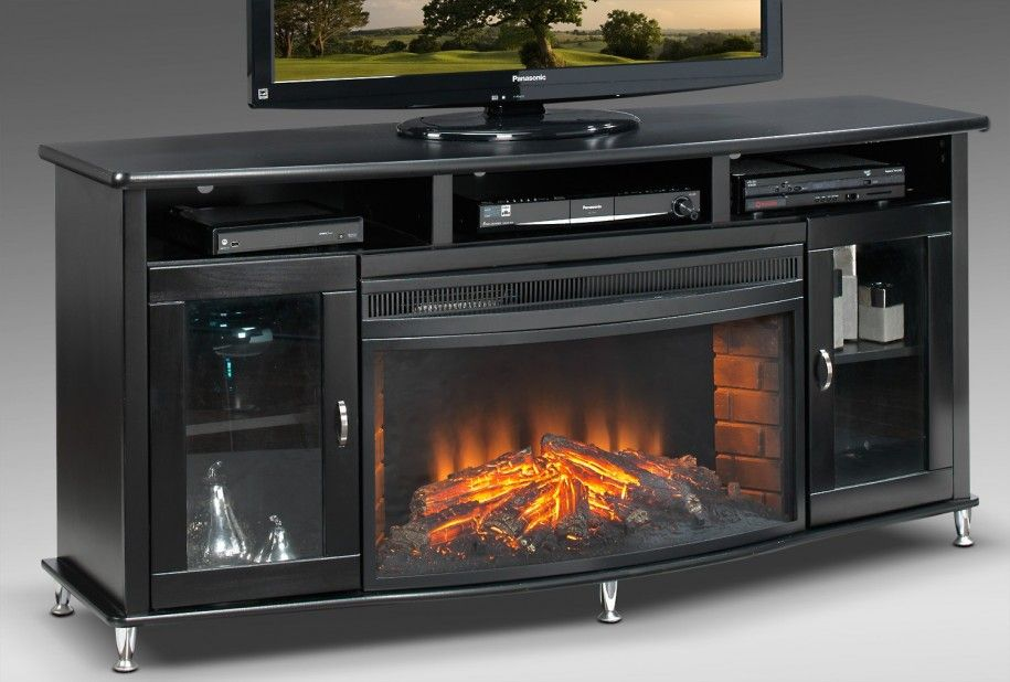 Beautiful Tall Fireplace Tv Stand For Our Tv Room Glossy Black