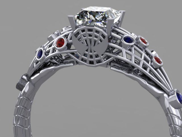 Spider Man Engagement Ring 14k White Gold Custom Spider Man