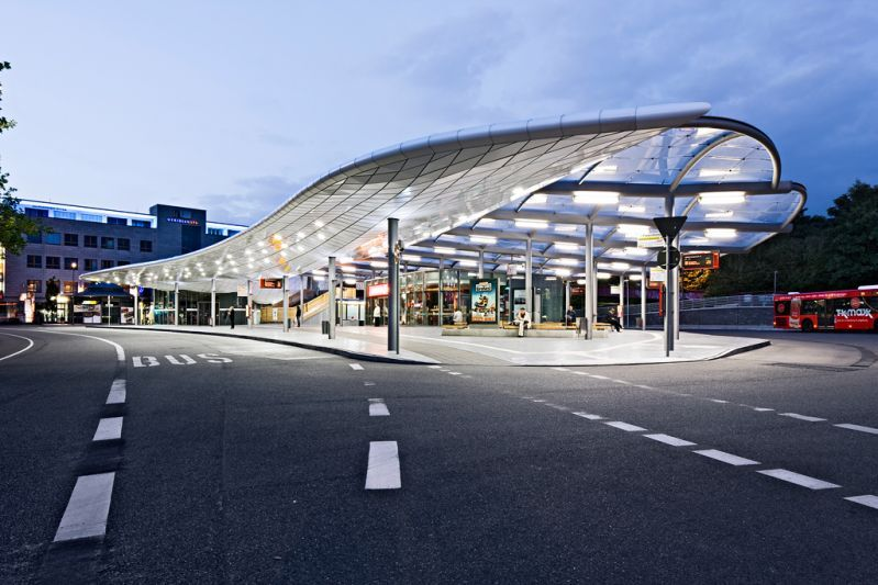 Bus Station Hamburg Poppenb 252 Ttel Etfe Membrane Roof