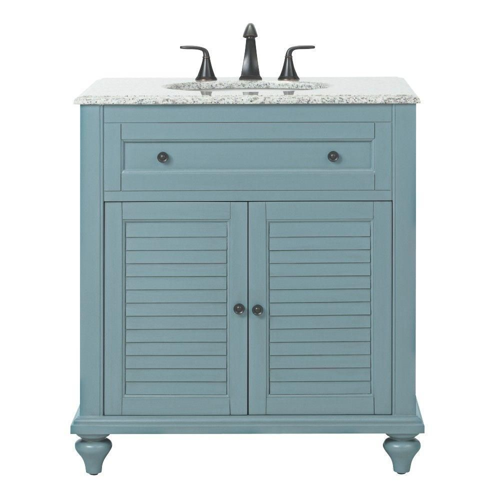 Home Decorators Collection Hamilton Shutter 31 In. Vanity In Sea Glass With  Granite Vanity Top
