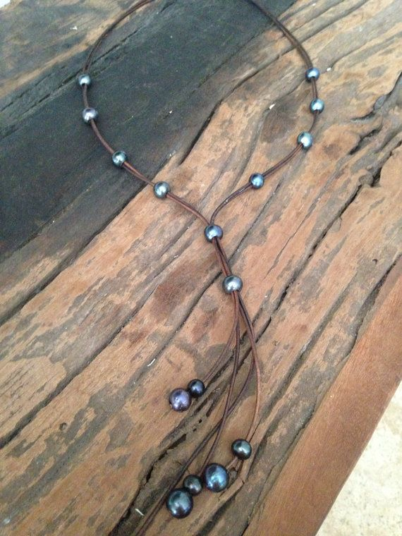 Black Peacock Pearl And Leather Long Lariat Necklace On