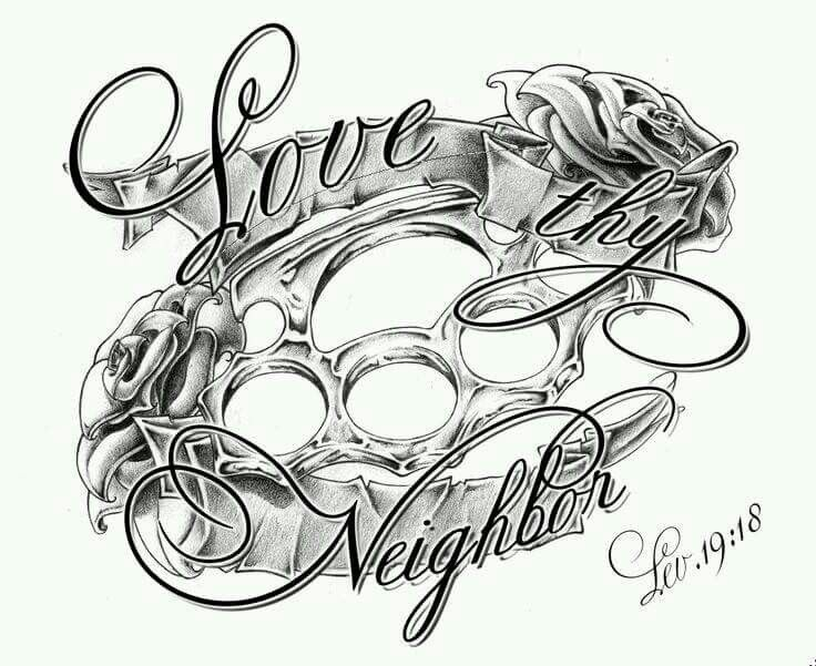 Love thy neighbor Brass knuckle tattoo, Knuckle tattoos