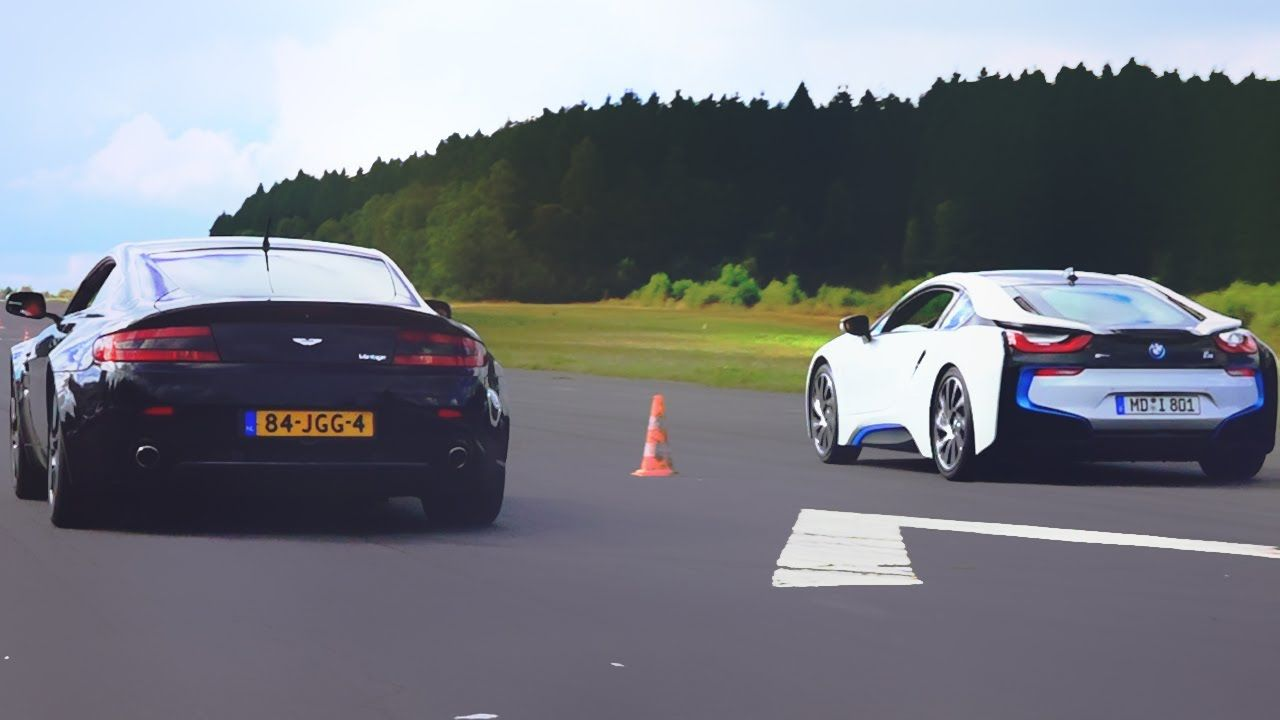 Drag Race Bmw I8 Vs Aston Martin V8 Vantage Supercars And