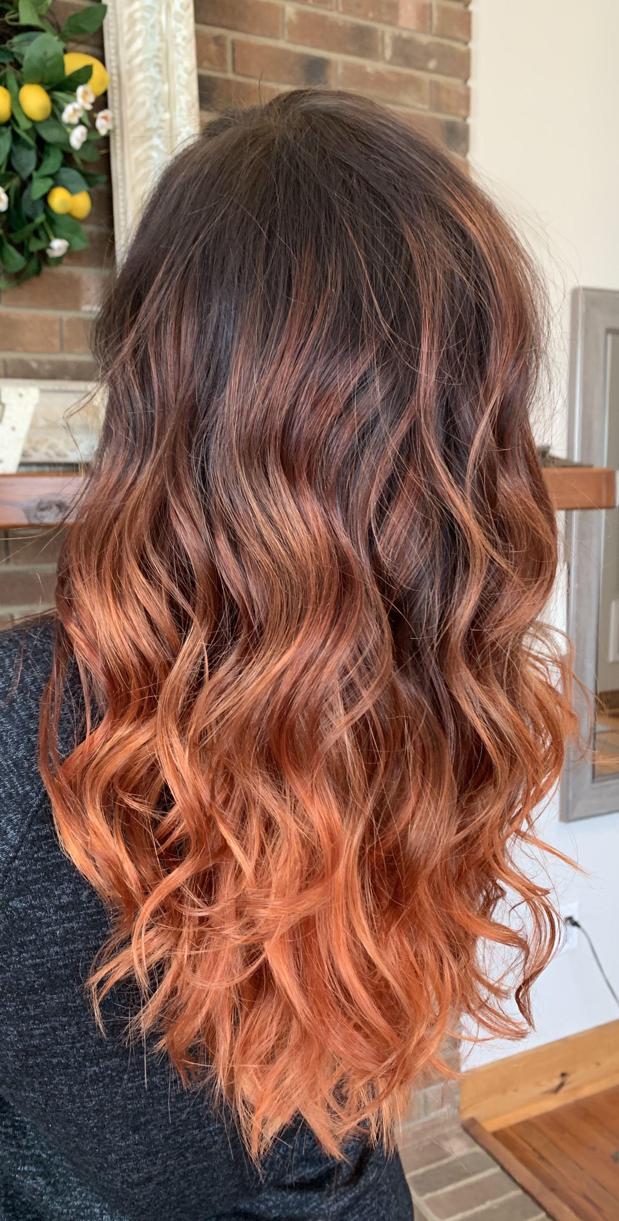 Gioia Difiaba Balayage Hair Copper Balayage Straight Hair Orange Ombre Hair