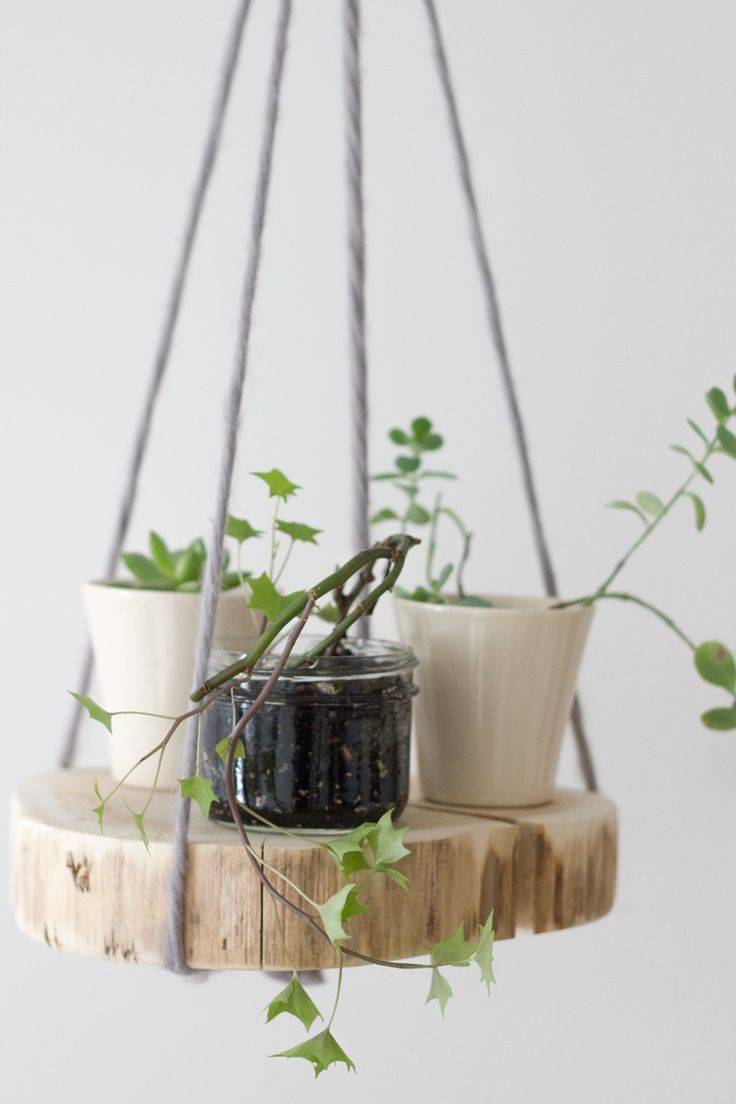 DIY wood shelf plant hanger