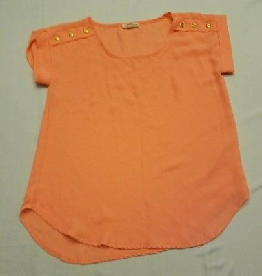 Zenna Outfitters S small orange sheer top gold tone button detail short sleeve