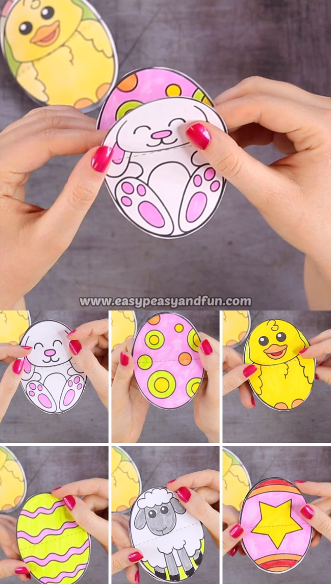 This printable Easter Egg Paper Toy is here to spread joy! This Easter craft is really easy to put together and your kids will love flipping the pages to uncover all the different characters and eggs.