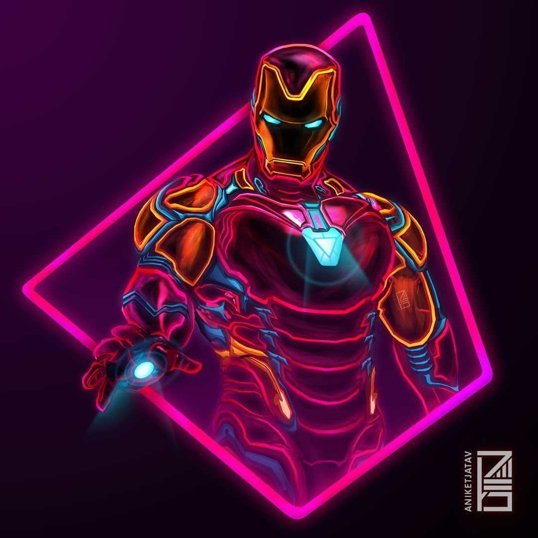 Avengerss Ironman TonyStark Neon Light Long Sleeve