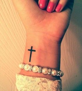 25 awesome minimalist forearm tattoo designs for girls cross wrist tattoos wrist tattoo and - Tattoo en commun ...
