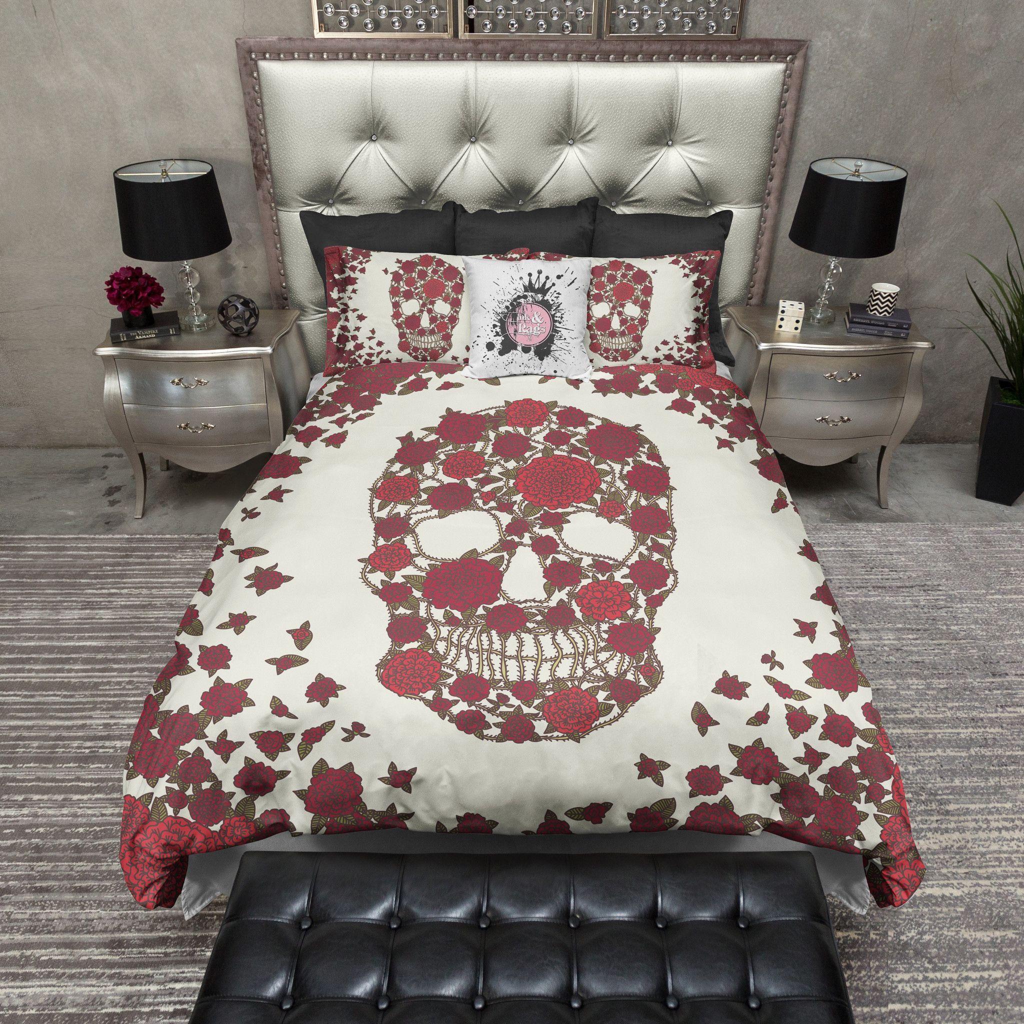 Red Dahlia Skull Bedding Cream Duvet Bedding Sets Bedding Sets Skull Bedding