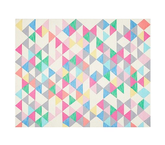 Pottery Barn Jackson Rug   Girls Rug Decor Pastels Triangles Squares