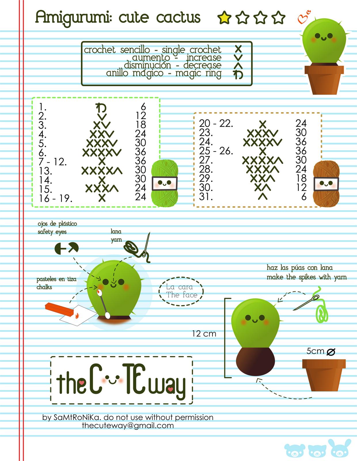 patrones de cactus al crochet - Buscar con Google | bordados peky ...