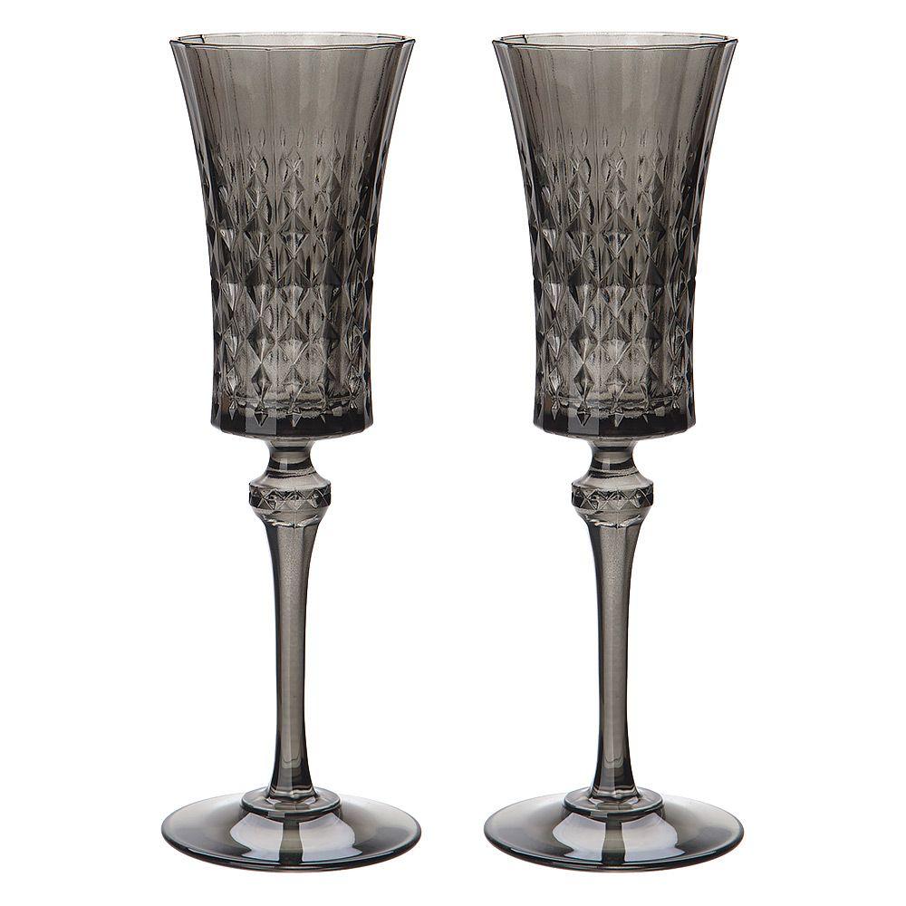 Cristal Darques Lady Diamond.Cristal D Arques Lady Diamond Grey Champagne Flute Set 2pc