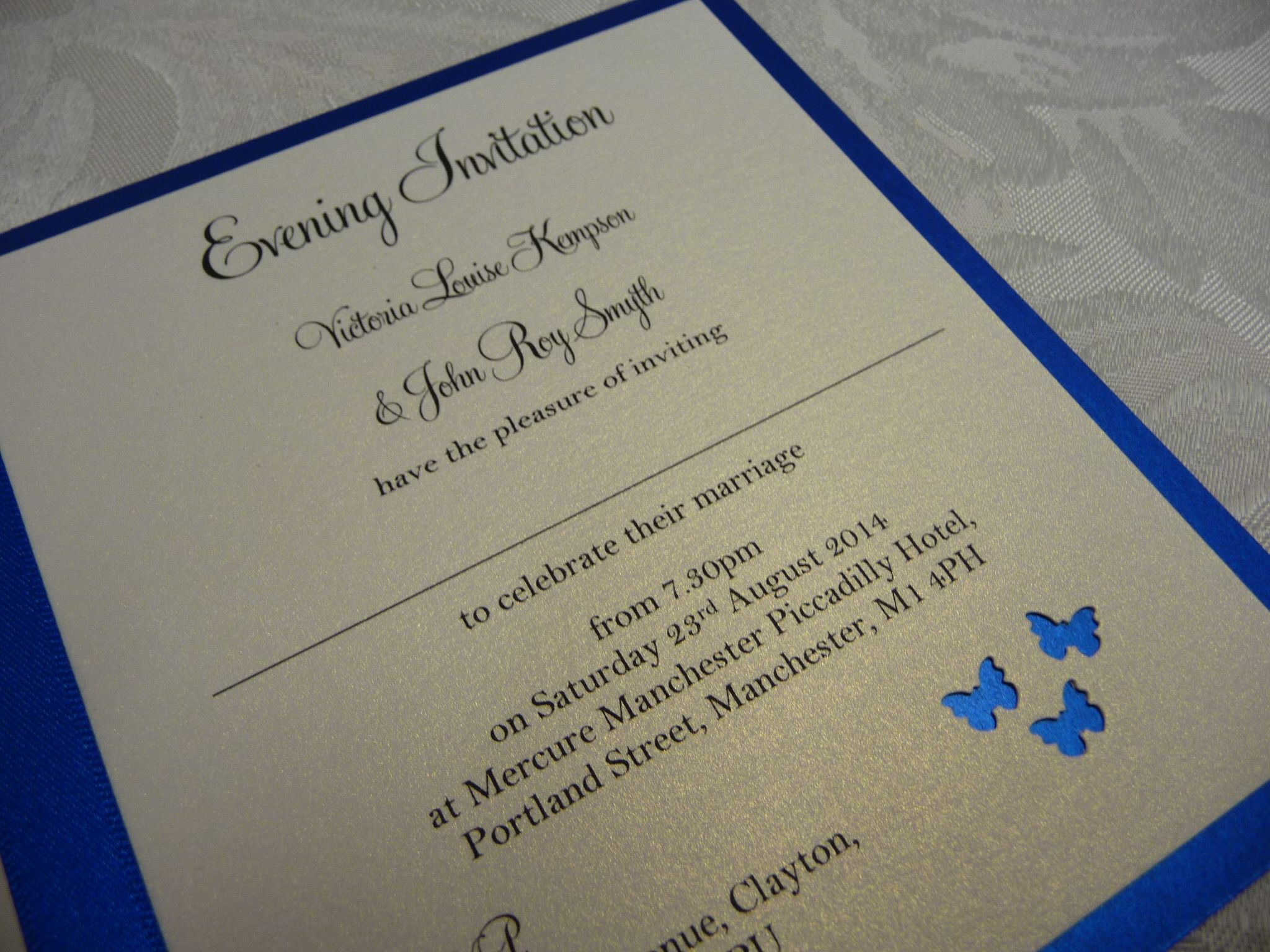 Royal Blue Butterfly themed Evening invitations for a Wedding ...