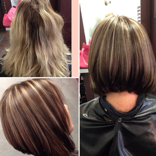 Dolledupbystephmc Instagram Chocolate Brown Hair With Blonde Highlights Before And After Alone Hairc Brown Blonde Hair Short Hair Haircuts Chocolate Brown Hair