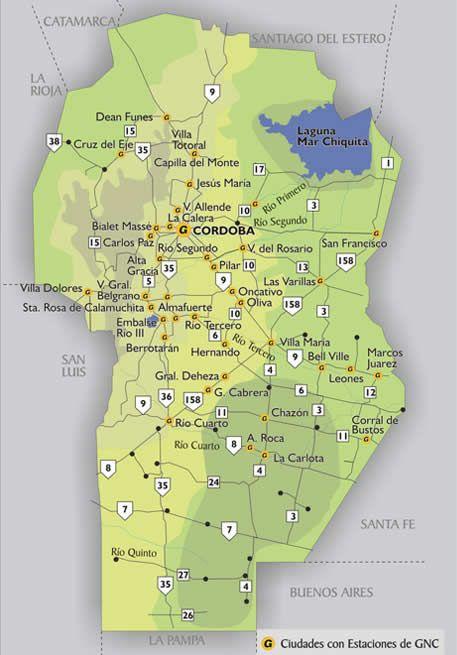 Mapa Pueblos De Cordoba.Mapa De Estaciones Gnc En La Provincia De Cordoba En 2019