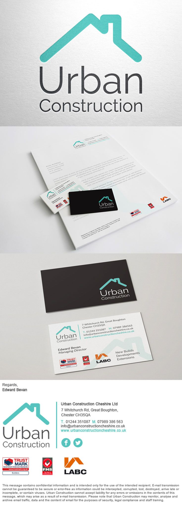 Construction logo, stationery, business card and e-signature ...
