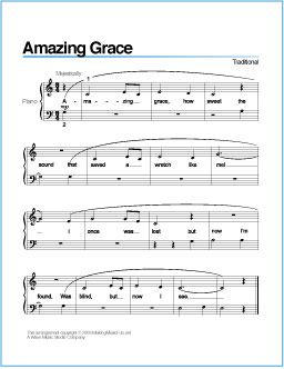 Amazing Grace Free Printable Sheet Music For Piano With Images
