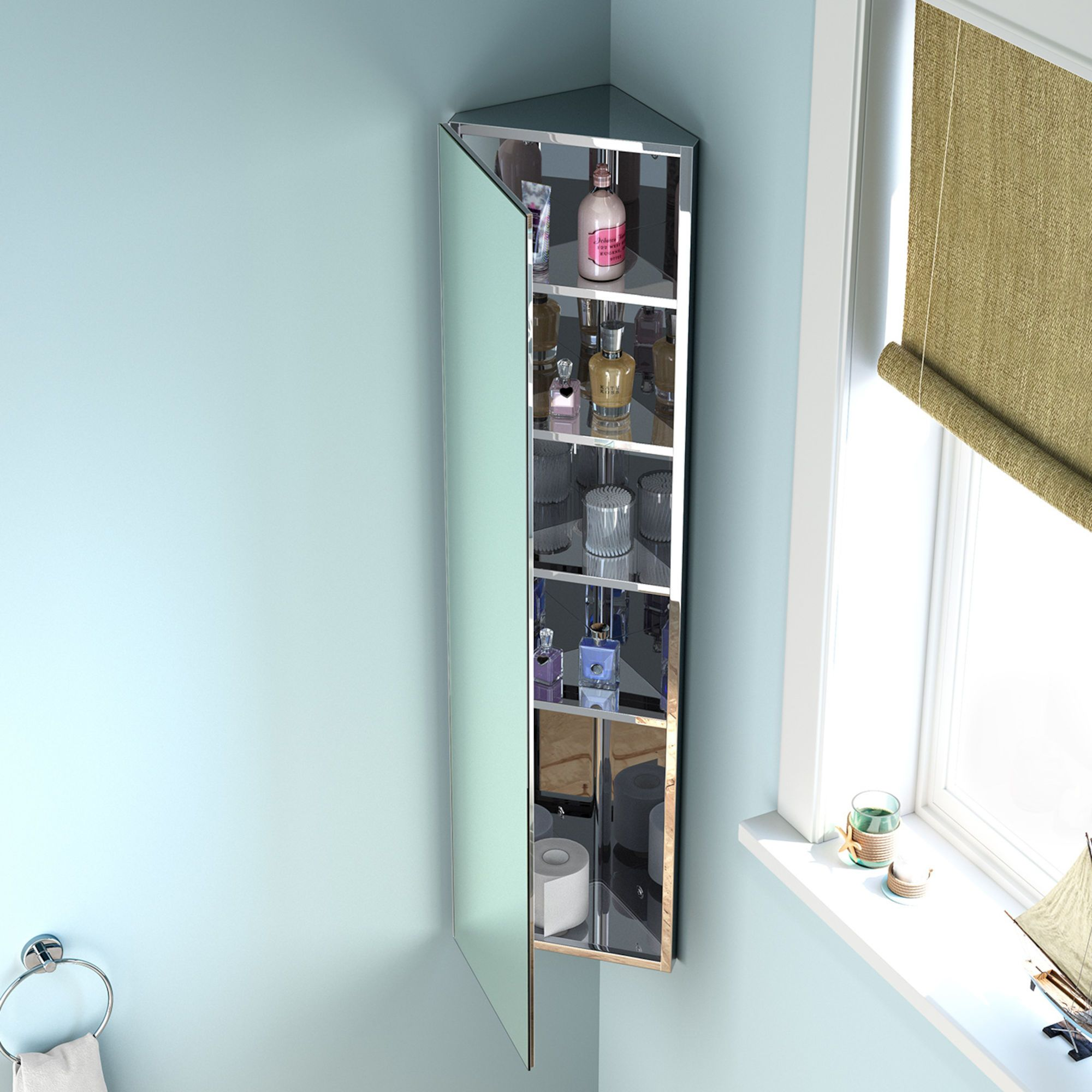 1200x300mm Liberty Stainless Steel Tall Corner Mirror Cabinet Mirror Cabinets Corner Mirror Bathroom Cabinets Uk